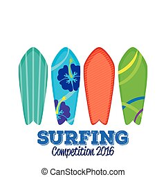Surfboards - Set of surfboards with different designs on a...