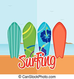 Surfboards - Set of surfboards with different designs on the...