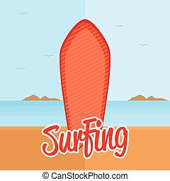 Surfboard - Isolated surfboard with a striped texture on the...
