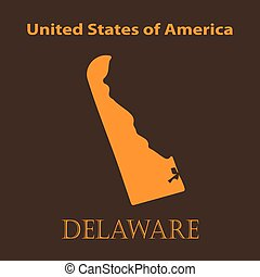 Orange Delaware map - vector illustration Simple flat map of...