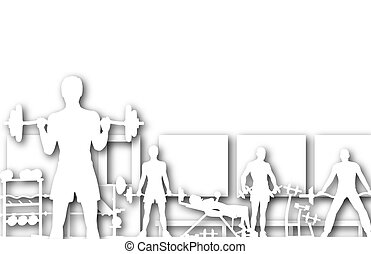 Gymnasium - Illustration of cutout people in a gym