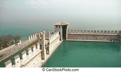 Wonderful view of the part of Scaliger castle of Sirmione,...
