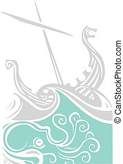 Viking Longship Sailing