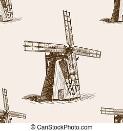 Windmill hand drawn sketch seamless pattern vector -...