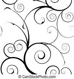 simple mono floral pattern - Black and white seamless floral...