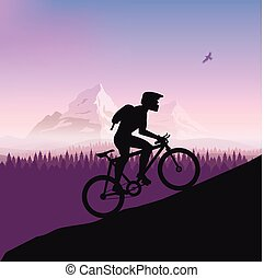 Cyclist in rough road. Bicycle racing go to the mountain. Vector flat design. bicyclist silhouette