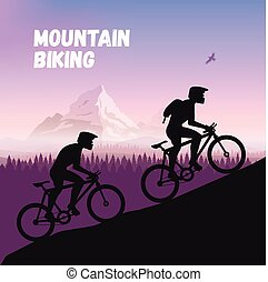 The Group of cyclists in rough road. Bicycle racing go to the mountain. Vector flat design. bicyclist silhouette.