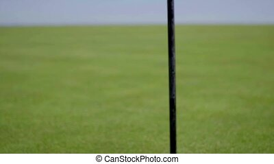 Flag pole next to hole on golf course - Close up on single...