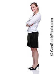 Yong businesswoman in blouse and skirt - Young blonde...