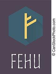 Fehu rune of Elder Futhark in trend flat style. Old Norse...