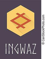 Ingwaz rune of Elder Futhark in trend flat style. Old Norse...