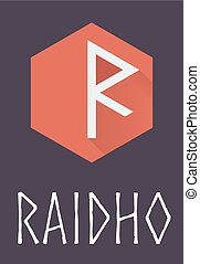 Raidho rune of Elder Futhark in trend flat style Old Norse...