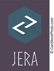 Jera rune of Elder Futhark in trend flat style. Old Norse...