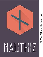 Nauthiz rune of Elder Futhark in trend flat style Old Norse...