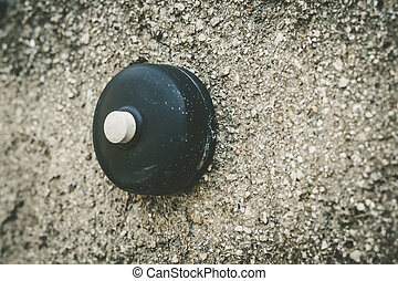 old round doorbell - An old round weathered doorbell