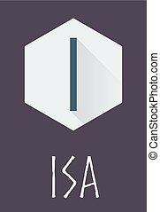 Isa rune of Elder Futhark in trend flat style. Old Norse...