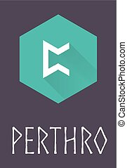 Perthro rune of Elder Futhark in trend flat style. Old Norse...