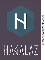 Hagalaz rune of Elder Futhark in trend flat style Old Norse...