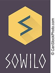 Sowilo rune of Elder Futhark in trend flat style. Old Norse...