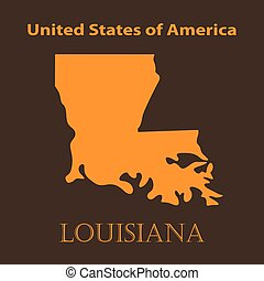 Orange Louisiana map - vector illustration Simple flat map...