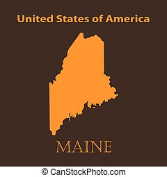 Orange Maine map - vector illustration. Simple flat map of...