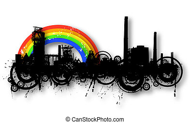 Industrial rainbow - Detailed illustration of an industrial...