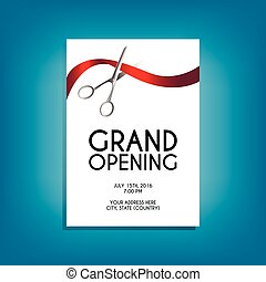 Grand opening flyer mock-up with silver scissors cutting red ribbon isolated on white background, design template for invitations. Size A6.