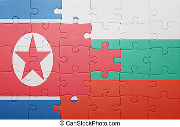 puzzle with the national flag of north korea and bulgaria...
