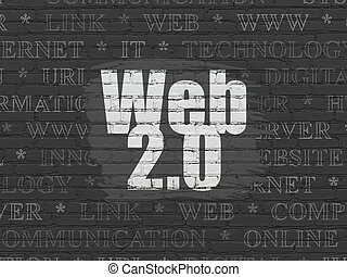 Web development concept: Web 20 on wall background - Web...