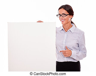 Happy smiling brunette businesswoman with placard - Happy...