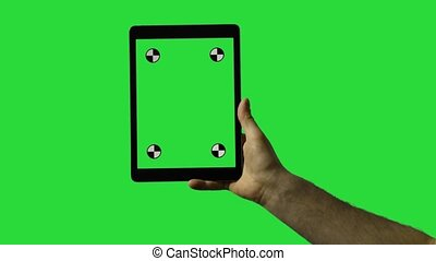 Man Using Tablet Pc With Blue Screen on a Green Screen Background  with Various Hand Gestures touch, scroll and more