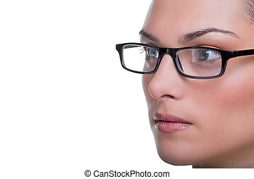 Womans face with glasses close up