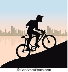 Cyclist in rough road against city landscape. Bicycle racing go to the mountain. Vector flat design. bicyclist silhouette.