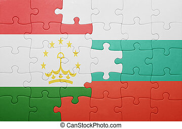 puzzle with the national flag of tajikistan and bulgaria ....