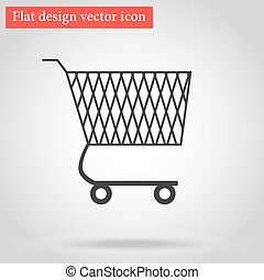 Shopping cart for goods in the shop flat design icon with...