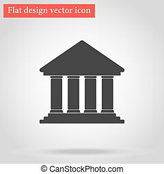 Icon Bank building flat design with shadow. vector...