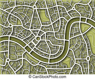 Nameless toned map - Illustration of a street map without...