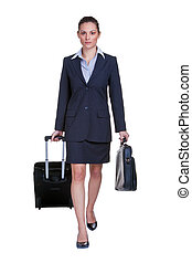 Businesswoman traveller - Businesswoman in suit with...