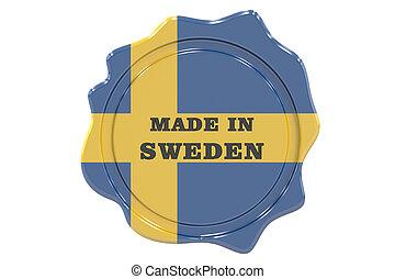 made in Sweden seal, stamp. 3D rendering