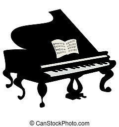 Grand piano illustration, isolated object over white...