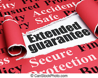 Insurance concept: black text Extended Guarantee under the...