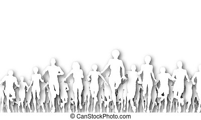 Running cutouts - Illustration of a large group of people...