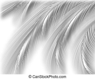 Silver fronds - Abstract cutout illustration of fine...