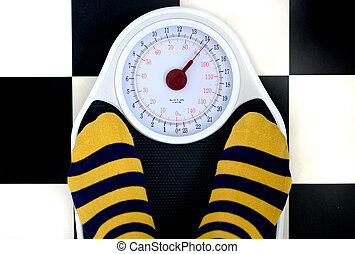 Weighing scales - bathroom weighing scales and yellow...
