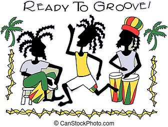 Ready To Groove - island band, drums, rasta, vector, red,...