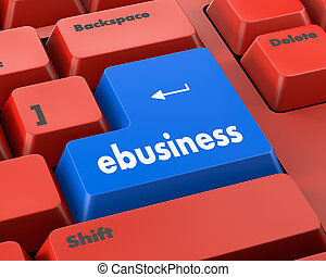 ebusiness - Text ebusiness button 3d render