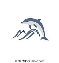 dolphin jumping over the waves