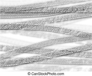 Tracks - Background illustration of cutout white tire tracks