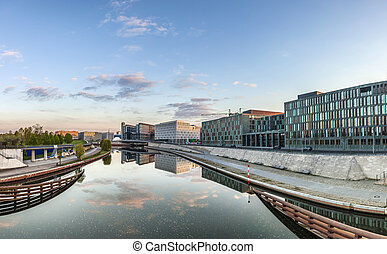 River Spree and office building of the German Parliament -...