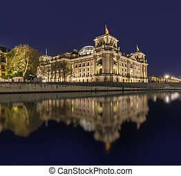 The german Reichstag by night with reflection in river spree...